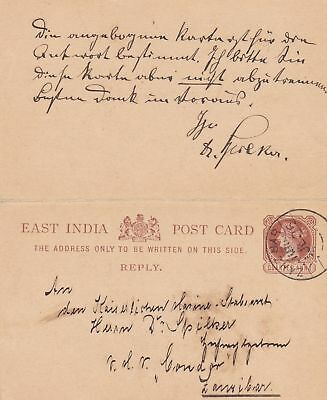 East India: Post Card: India Postage-Q-Anna  Zanzibar: Kaiserliche Marine