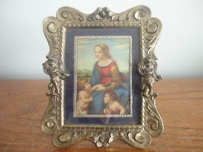 "Beautiful Antique Vintage Brass Angel Picture /photo Frame 5""x 4"" & 3.4Oz"