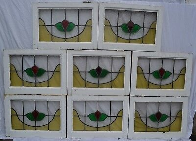 8 British leaded light stained glass window panels. R732. WORLDWIDE DELIVERY