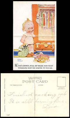 MABEL LUCIE ATTWELL Old Postcard Lifes awful full of Wear Tear What to Wear 1398