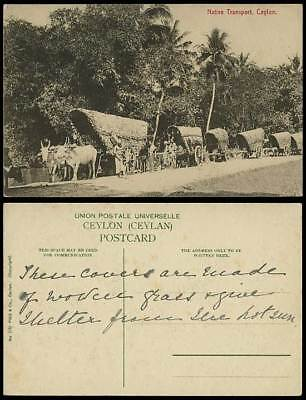 Ceylon Old Postcard NATIVE TRANSPORT, Men Workers and Double Bullock Carts Plate
