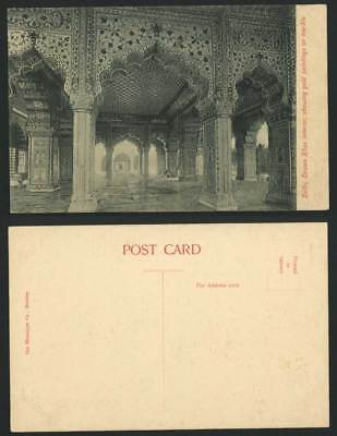 India Old Postcard Delhi, Dewan Khas Interior - Showing Gold Paintings on Marble