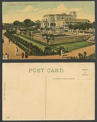 India Old Colour Postcard BASHERBAGH PALACE Hyderabad Dn. Gardens & Street Scene