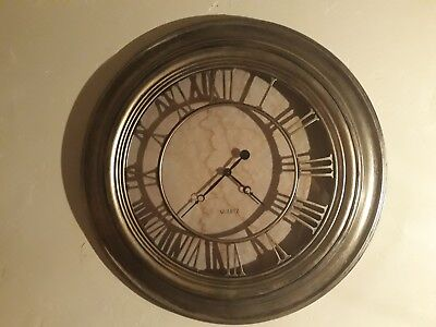 Antique Silver Wall Clock with Roman numeral feature