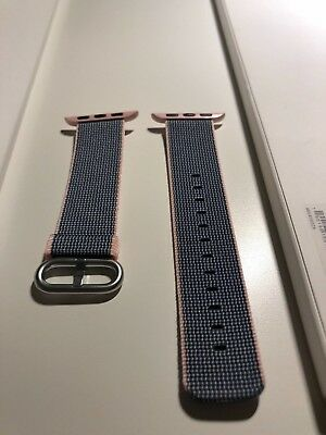 100% GENUINE AUTHENTIC Stripe Woven Apple Watch 38mm - Light Pink Midnight Blue