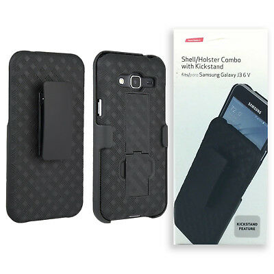 Verizon Shell Holster Combo Case with Kickstand For Samsung Galaxy J3 6 V  Black