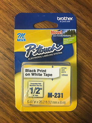 Brother M-231 Black Print on White Tape M-TAPE P-touch Labeling System | M231