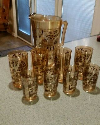 Vintage Blue Willow, Carnival Glass Pitcher, 4 Juice,  4 Water Glasses (9 pc)