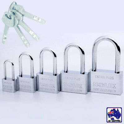 Security Lock Shackle Padlock Door Stainless Steel Rectangle w/ 4 Keys HLO0007