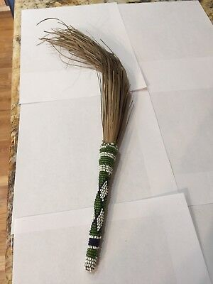 Rare Antique Native American Beaded Sweet Grass Pow Wow Fan Shaman Folk Art