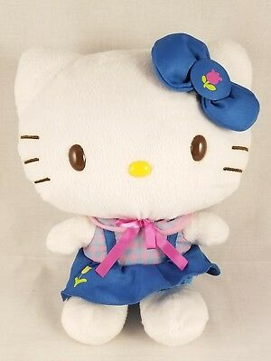 "12"" Hello Kitty Sanrio 2013 Stuffed Animal Plush Blue Pink Tulip Skirt Bow Dress"