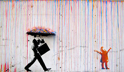 not Banksy Framed Canvas Street  graffiti painting Art Print rainbow rain Norway