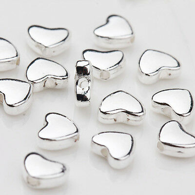 30Pcs Tibetan Silver Heart Shape Spacer Loose Charm Beads Jewelry Findings 5x6MM