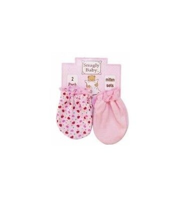 Scratch Mittens, Girls, 2 Pack, Pink/Red Hearts By Snugly Baby, 0-6 Mos, New!!!