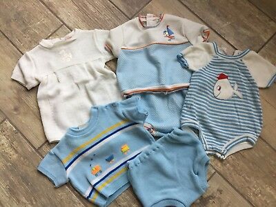Vintage Baby Boy Outfit Lot EVC 0-3m 6m Lot knit outfits dapper southern gent