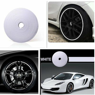 8m White Car Wheel Hub Rim Edge Protector Ring Tire Guard Sticker Rubber Strip U