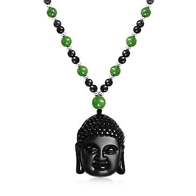 Buddha Head Obsidian Pendant Synthetic Jade Bead Necklace 26 Inches