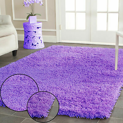 Lilac Plain Soft Shaggy Rug Floor Carpet Non Shed Plain Modern Small X Large