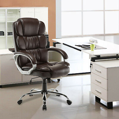 Brown High Back PU Leather Executive Office Desk Task Computer Luxury Chair