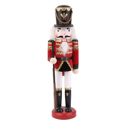 Wood Nutcracker Guard Soldier with Rifle Puppet Doll Gift Kid Toy Home Decor