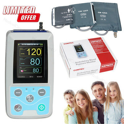 Ambulatory Blood Pressure Monitor NIBP Holter 24 Hours Recorder 3 Cuffs Software