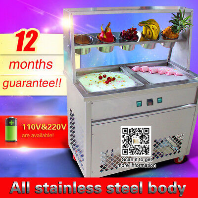 in USA free shipping,high quality thai fried fruit ice cream machine,two pans