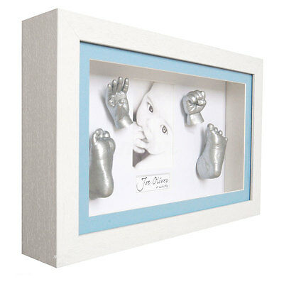 3D Plaster Baby Handprint & Footprint Mould Casting Prints Kit Gift Silver Paint