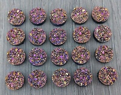 12mm Fuchsia Druzy Resin Cabochons - 10/50pcs - Bulk Cabs for Earrings  FBC141