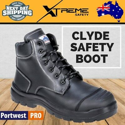Portwest Men Clyde Work Boots Leather Steel Cap Black Safety Boots