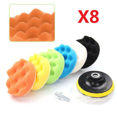 8Pcs 4 inch Waxing Buffing Sponge Polishing Pad Kit Set For Car Polisher Buffer