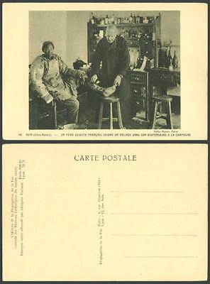 China Old Postcard NANKING Dispensary French Doctor Treats Chinese Patients Foot