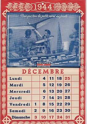 Calendrier Equipes Nationales 1944 - Petain - Jouets.