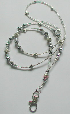"""Silver Sparkle"" Silver Grey Tones Beads ID Lanyard Badge Holder Handmade"