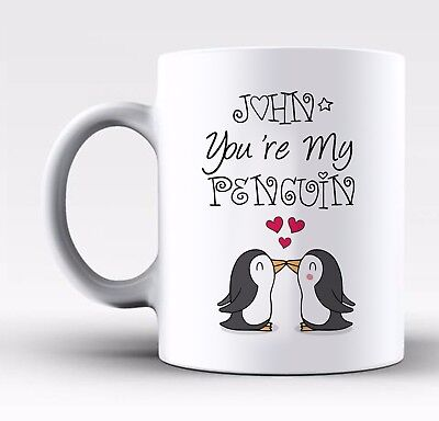 Personalised Cute Penguin Valentines Day Gift Mug With Any Name For Him Or Her