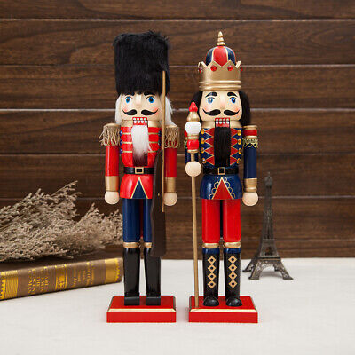 2pcs 38cm Christmas Wooden Nutcracker King Solider Figure Statue Puppet Doll