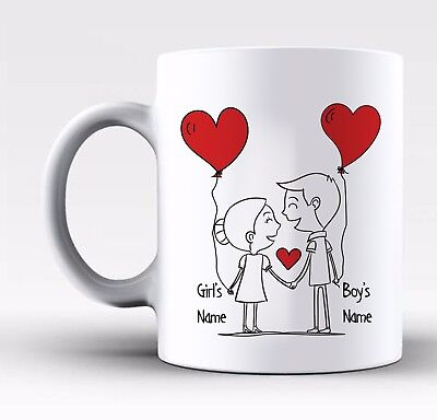 Personalised Valentines Day Gift Mug For Him & Her With Any Names On