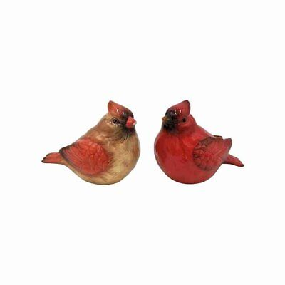 Two Red Feather Cardinals Salt and Pepper Bottle Stoneware Figurine,