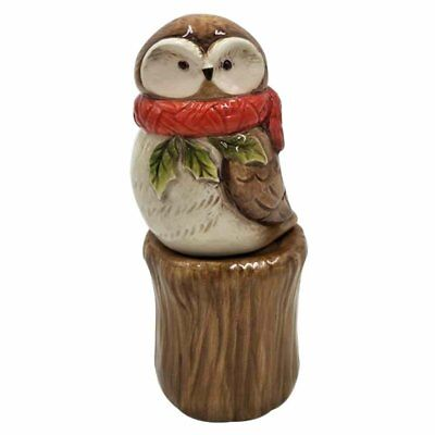 Owl Wearing Red Scarf On Stump Salt and Pepper Bottle Stoneware Figurine