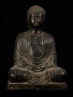 18th Century Antique Japanese Seated Meditation Buddha Statue - 38cm/15""