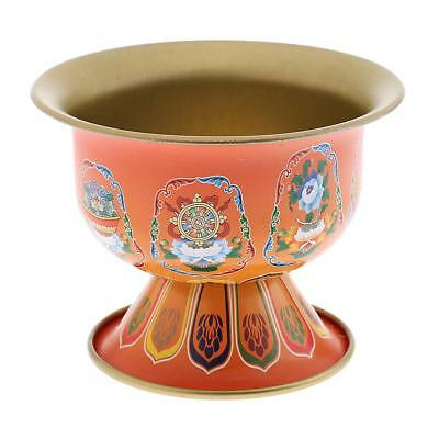 Tibetan Buddhist Collection Alloy Eight Auspicious Holy Water Bowl Cup Small