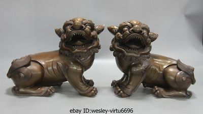 China Palace Red Copper Fengshui Fu Foo Dog Lion Brave troops Pixiu Statue Pair