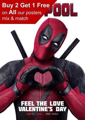 Marvel Deadpool Valentines Day Poster A5 A4 A3 A2 A1