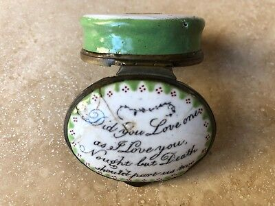 "ANTIQUE BILSTON ENAMEL PILL BOX ""Did you love one as I love you...."""