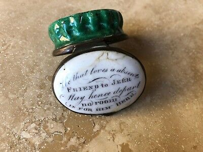 "ANTIQUE BILSTON ENAMEL PILL BOX ""He that loves a absent friend to jeer...."""