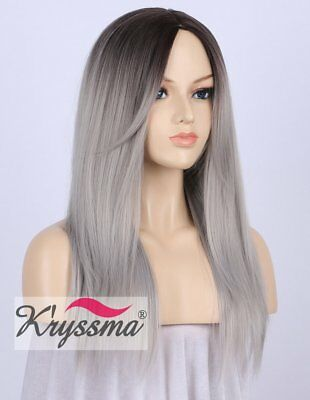 K'ryssma Dark Rooted Silver Grey Ombre Straight Wig High Quality Natural Looking