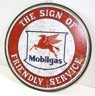 """Mobilgas """"The Sign of Friendly Service"""" Gas Station round Sign 11.75"""" diameter"""
