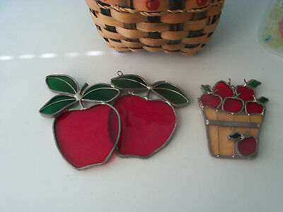 Vintage Set of 2 Red Apples Leaded Stained Glass Suncatchers