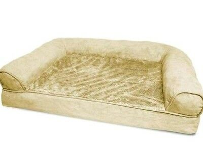 FurHaven Jumbo Plush & Suede Orthopedic Sofa Pet Bed for Dogs and Cats,Tan