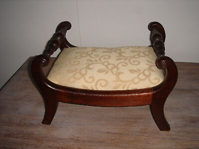 Reg.Mahogany Foot Stool c1815 Saber leg,scrolled rails,reed & roundel decoration