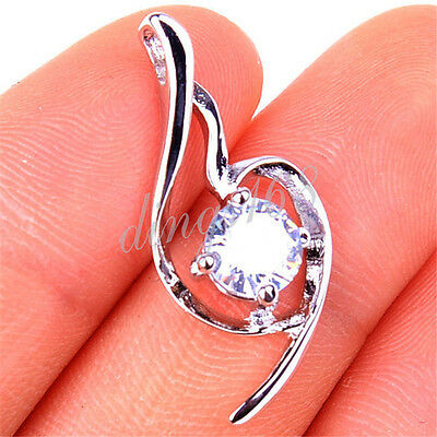 925 Sterling Silver Clear White Crystal Curved Heart Pendant 25mm * 10mm H1006